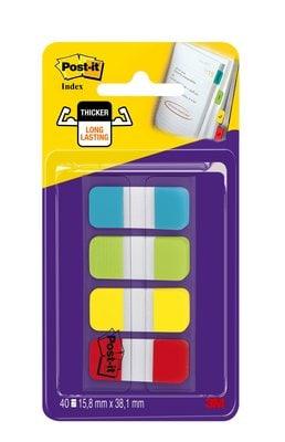Marque-pages Post-it® Mini Rigides couleurs standard - Lot 4 x 10