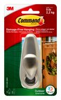 Command™ FC13-BN-AWES Outdoor Large Metal Hook w/Foam Strips