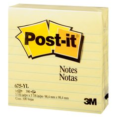 Post-it(R) Notes, 675-YL, 98.4mm x 98.4mm, Yellow