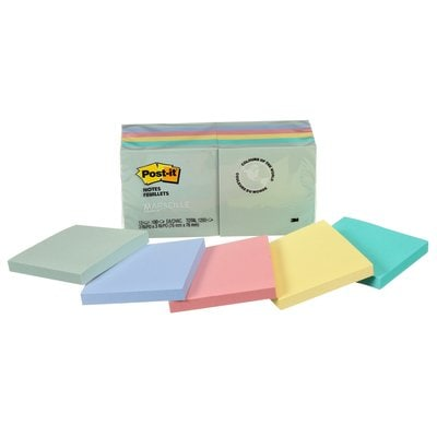 Post-it® Notes, 654-AST, Marseille Collection, 3 in x 3 in