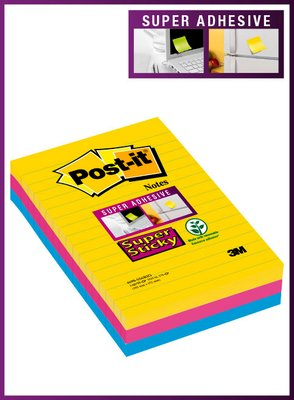 Post-it® Super Sticky XL-Notes Rio de Janeiro collection 3 block 101 mm x 152 mm