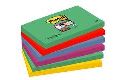 Notas Post-it® Super Sticky Colección de colores Marrakech de 76mm x 127 mm, 6blocs