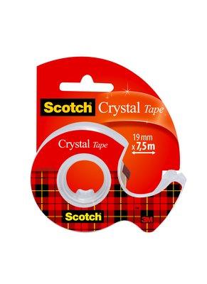 Nastro Adesivo Supertrasparente Scotch® Crystal 1 Rotolo 19 mm x 7,5 m + Dispenser portatile -600-1975