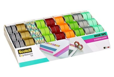 Scotch® Expressions Washi Tape Assorted Colours 54 Rolls 15 mm x 10 m