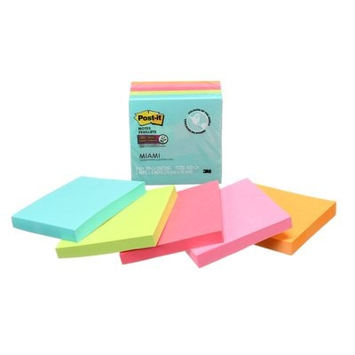 Post-it® Super Sticky Notes, 654-5SSMIA-C, Miami, 3 in x 3 in