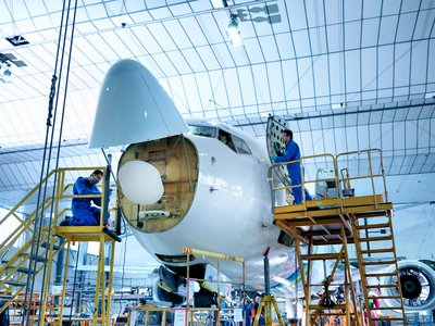 In-hangar aircraft maintenance and repair with radome open