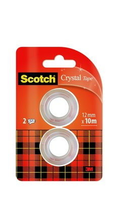 Scotch®, Crystal Cinta adhesiva supertransparente paquete de recambio de 2 rollos de 12 mm × 10 m