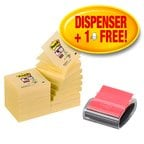 Post-it® Super Sticky Canary Yellow™ Z-Notes Promotional Pack 16 Pads 76 mm x 76 mm + 1 New Black Pro Dispenser FREE