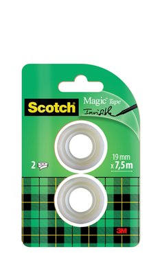 Scotch® Magic™ Pack de recambio de cinta adhesiva de 2 rollos de 19 mm x 7,5 m