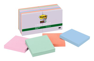 654-12SSNRP Post-it(R) Recycled Super Sticky Notes, Bali Collection