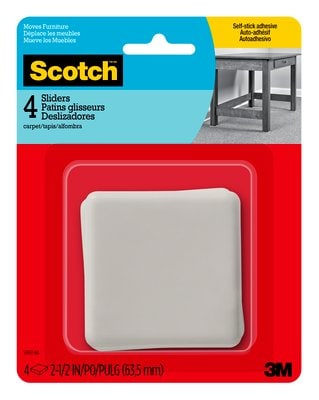 Scotch™ Sliders SP651-NA, Adhesive Hard Square 2.5-in 4/pk