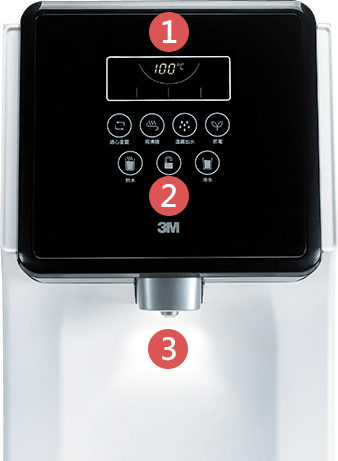 3M™ L21 移動式過濾飲水機:智能觸控操作-1.LCD 液晶觸控面板-加大按鍵與圖像化設計,操作更簡便;2.螢幕顯示訊息-每道濾心更換提醒、目前水溫、省電開啟狀態、熱水防燙鎖狀態;3.出水口指示燈-使用即可開啟指示燈,若遇省電模式或閒置超過3分鐘後,將自動關閉