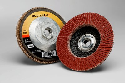 "3M(TM) Cubitron(TM) II Flap Disc 967A, 55604, 80+, 4-1/2"" Type27"