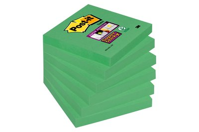 Notes Super Sticky Post-it® Vert Olive, 76 x 76 mm, 6 blocs